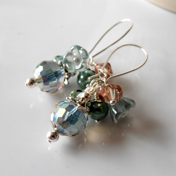 Beaded Earrings Aqua Seafoam Flowers Pearls Faceted Glass Swarovski Bead Clusters on Silver Handmade Jewelry