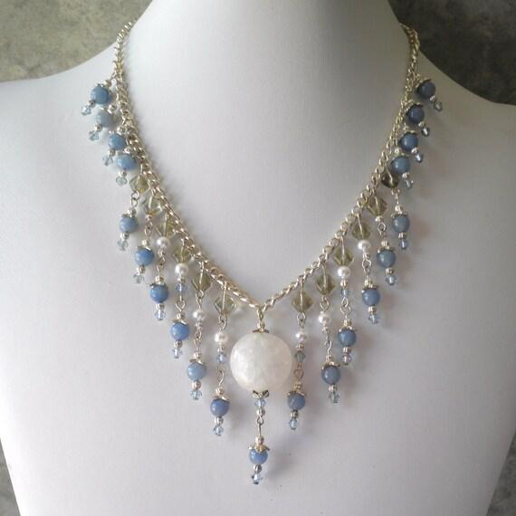 Beaded Necklace, Blue Gemstone Beaded Dangles, Aventurine and Quartz Necklace, Silver