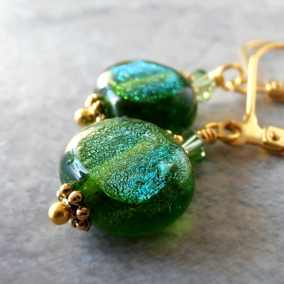Green Dangle Earrings Green Jewelry Dichroic Glass Bead Earrings Beaded Jewelry Handmade Jewelry Glass Drops in Gold Christmas Jewelry