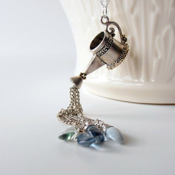 Watering Can Silver Charm Necklace Glass Bead Drops Garden Tools Beaded Tassle Silver Chain Garden Jewelry