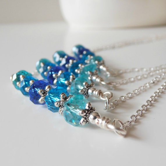 Blue Ombre Bridesmaid Jewelry Crystal Necklace Bar Necklace Blue Wedding Jewelry Sets Ombre Jewelry