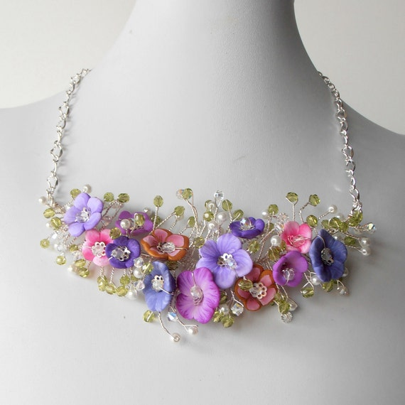 Bridal Jewelry Flower Necklace Pink And Purple Beaded Wire