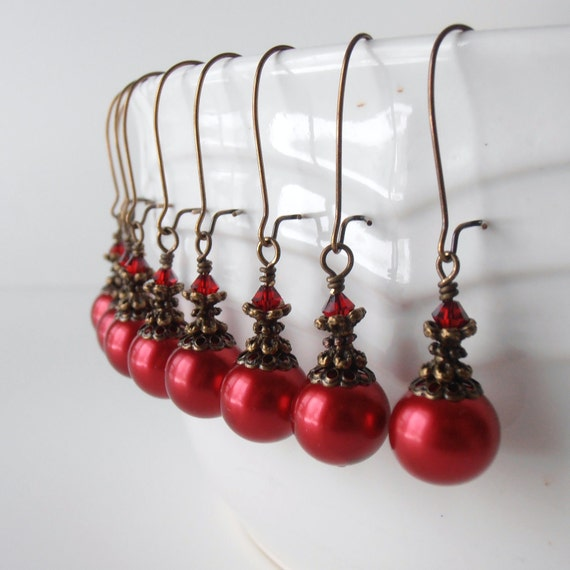 On Sale Red Pearl Bridesmaid Earrings Vintage Style Beaded Dangles Antiqued Bronze Crystal Apple Red Bridesmaid Jewelry