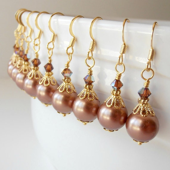 On Sale Bridesmaid Jewelry, Light Brown Pearl Earrings in Gold, Beaded Dangles with Crystals, Wedding Accessories