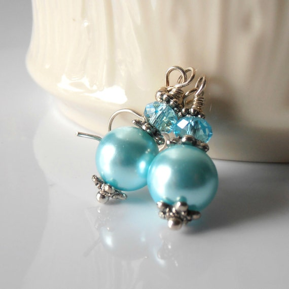 Aquamarine Pearl Earrings with Crystals Beaded Dangles in Antiqued Silver