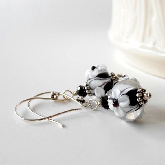 Lampwork Bead Earrings, Black and White Flower Bead Earrings in 925 Sterling Silver, Glass Bead Dangles, Handmade Jewelry