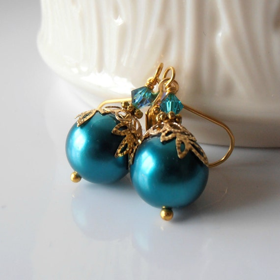 Pearl Drops Teal Earrings Beaded Dangles Peacock Blue Green Crystals Gold Leaves Leverback Ear Wires Bead Jewelry