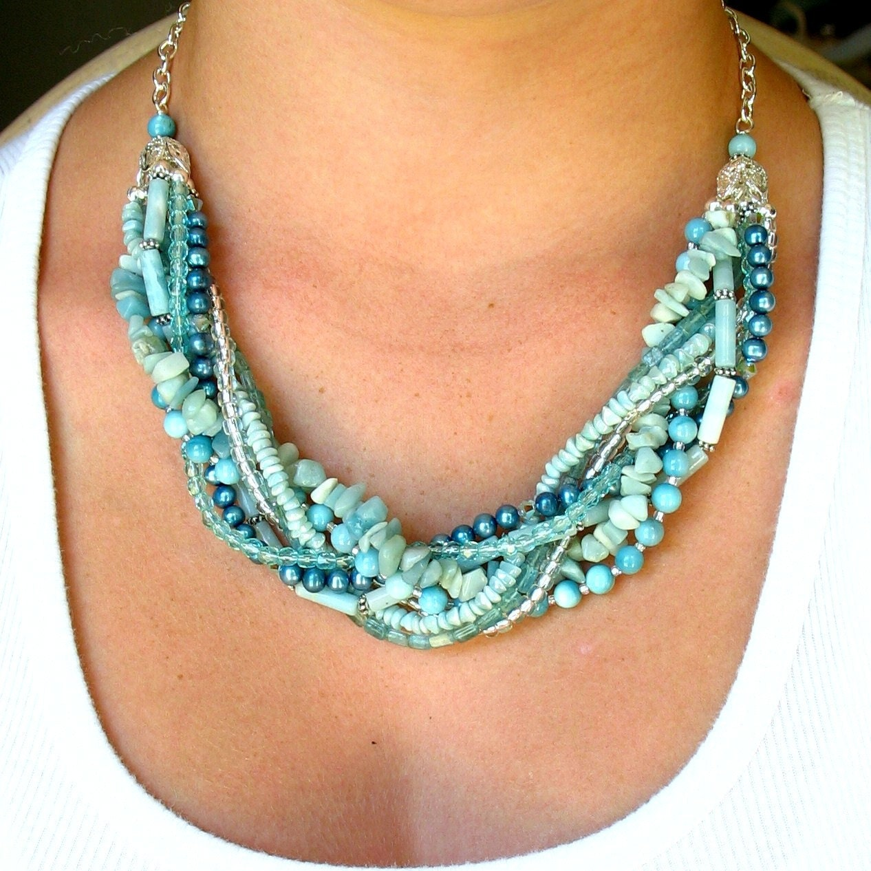 Necklace Beads: Beaded Necklace Seafoam Multi Strand Beaded Necklace With