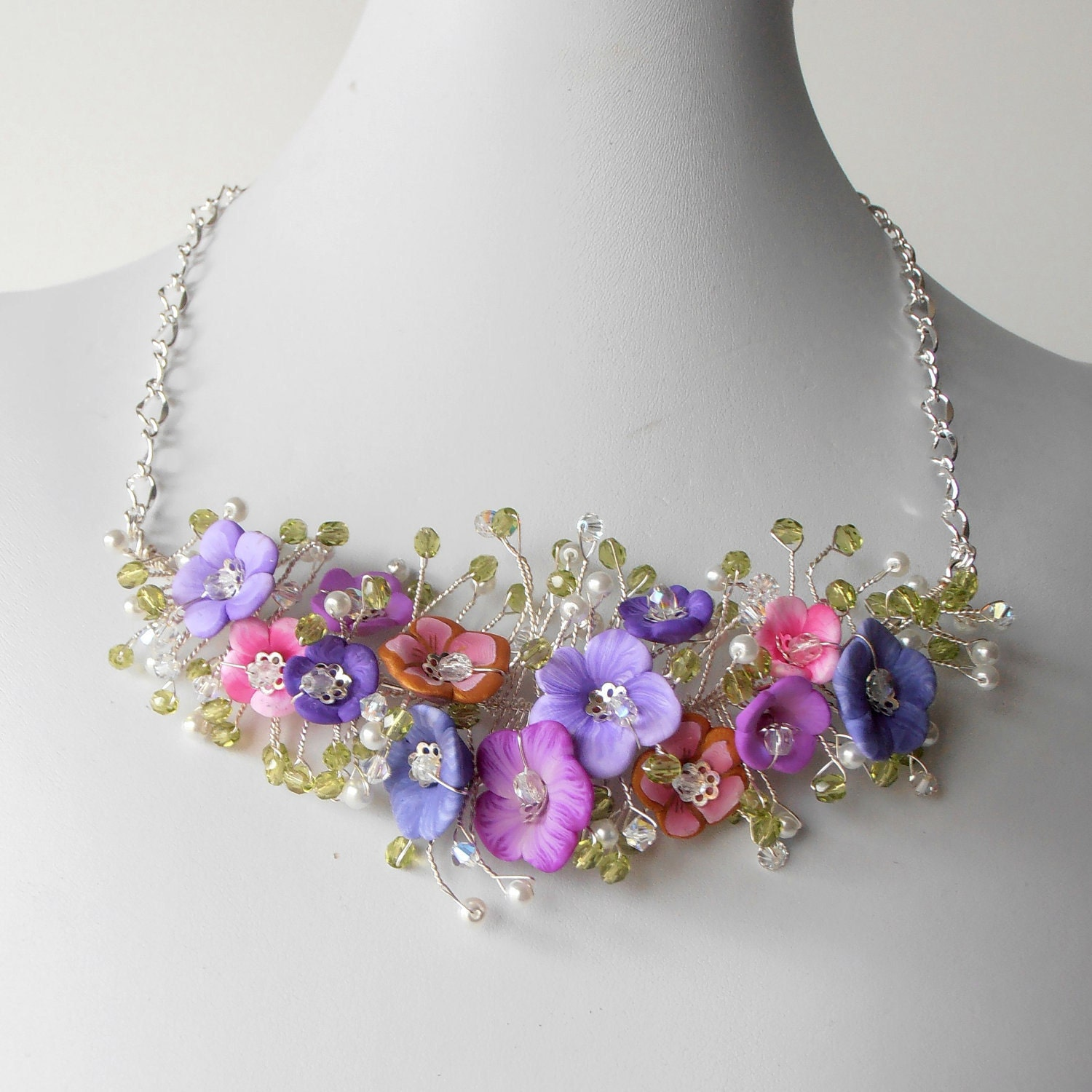 Bridal Jewelry Flower Necklace Pink And Purple By