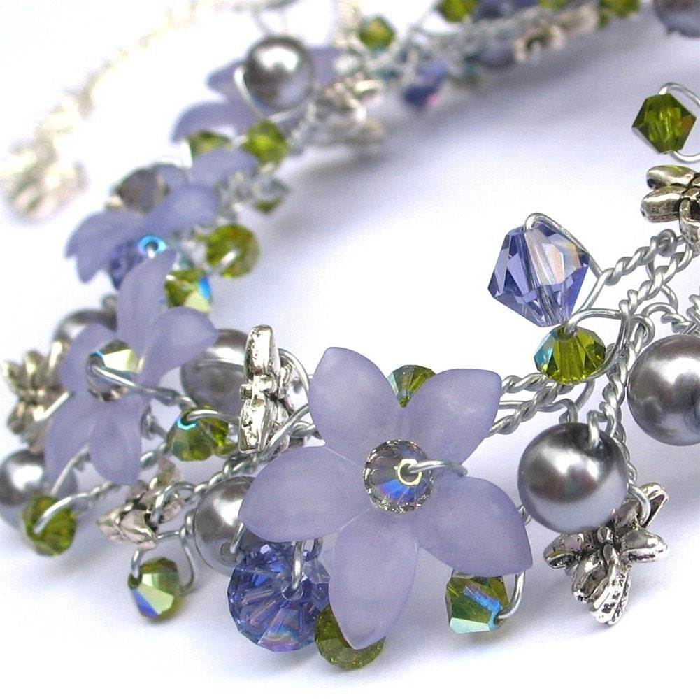 tanzanite crystal and lucite flower wire necklace