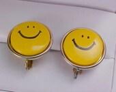 Sale***SMILEY FACE - All Yellow Metal & Black Enamel Clip Earrings