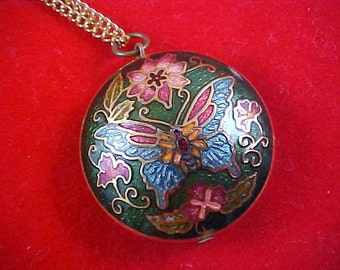 SALE CLOISONNE - Two Sided Vibrant Colors Puffy Butterfly Pendant Necklace