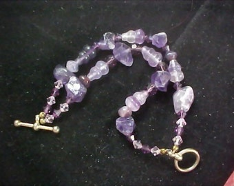Genuine BRAZIL  Amethyst and Amethyst Quartz Two Strand Sterling Silver Hand Crafted Bracelet