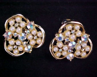 Aurora Borealis and Simulated Seed Pearls Clip Earrings