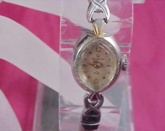 Ladies Vintage 10K White Roll Gold HELBROS 21 Jewel Watch