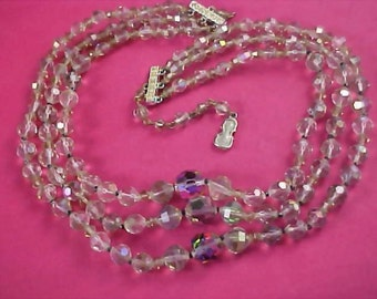 Art Deco Genuine Rainbow Lead Crystal Three Strand Necklace