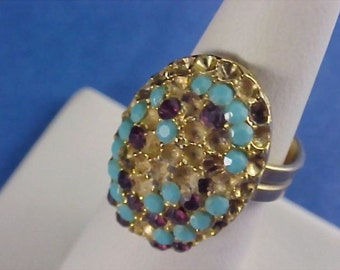 SALE - Vintage Turquoise and Amethyst Ring for  Repairs
