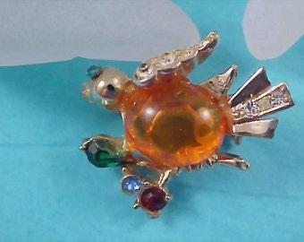 Yellow-Orange Glass Jelly  Belly Duck Brooch
