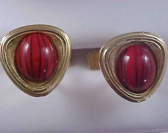 1950's Glass TIGER STRIPE Cabochon Gilt Gold Cuff Links