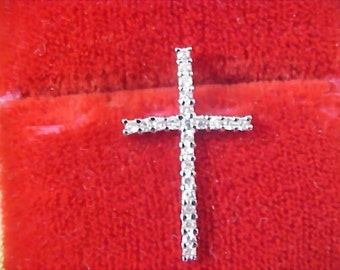 Exquisite Solid Sterling Silver - 23 C Z's Intricate CROSS Pendant