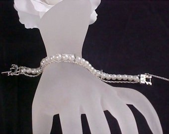 GOLDETTE of NY Silver Tone Simulated Pearl 3 Row Bracelet