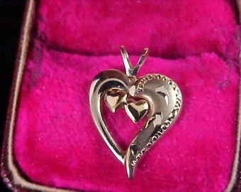 1940's 14K Gold Fill~ Signed  PPD  Two Hearts In a Heart Pendant