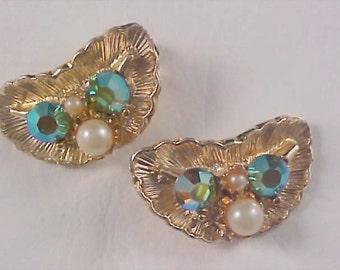 Free Ship ~ GLITZY Pizazzzz - Gilt Gold - Aurora Borealis & Simulated Pearl Clip Earrings