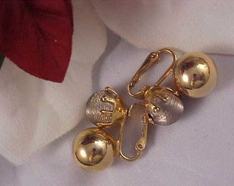 Huge Reduction ~ Textured Silver Tone & Polished Gold Tone Double Ball Clip Earrings