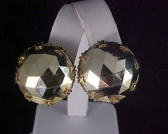 Gilt Gold Faceted Large Stone BUTTON  Clip Earrings
