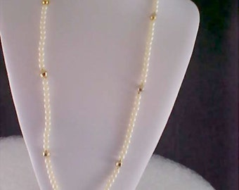 Signed Simulated Pearl & Gilt Gold Bead Sautoir Necklace