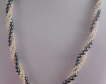 Gray & White Simulated Pearls Three Strand TORSADE Necklace