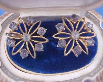 Sterling Silver & Black Diamond Rhinestone Screw Back Earrings