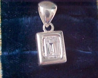 Free Shipping ~ SPECIAL - Sterling Silver Massive Rectangle Cut Bezel Set Cubic Zirconia Pendant
