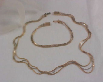 AVON  - THREE STRANDS  Necklace and Bracelet Demi Parure