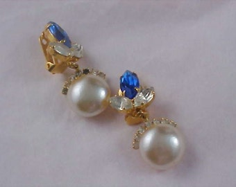 Blue & Clear Marquise Rhinestone and Pearl Cabochon Dangle Clip Earrings