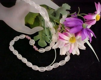 Frosted Beads & Lavender Beads Sautoir Necklace by Citation
