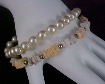 Reduced~ SPECIAL Sale - VINTAGE Two Lovely Estate Bracelets- One Faux Pearl-One GENUINE Quartz Stones