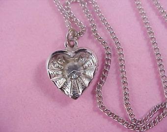 DESIGNER HEDY - Silver Rhodium Plate HEART Pendant & Chain
