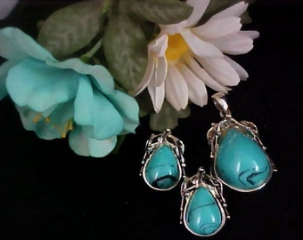 Mid Century Massive Glass Spider Turquoise & Silver Plate Demi Parure - Pendant and Earrings