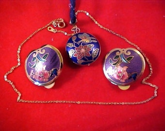 SITI Signed - Cloisonne Demi -  2 sided Puffy Necklace and  Clip Earrings