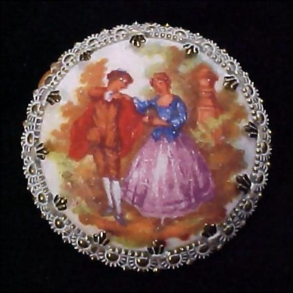 WESTERN GERMANY Victorian Style Hand Painted Vintage Estate Brooch