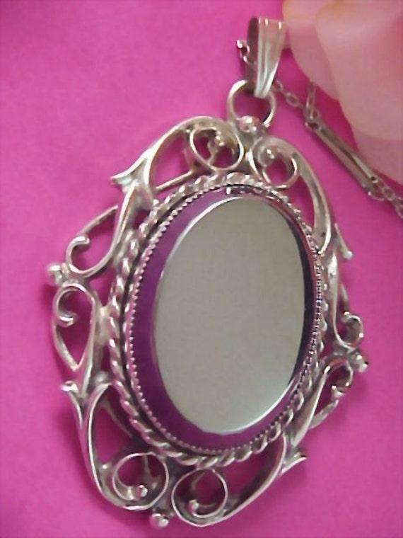 SALE -Crown Trifari Hematite & Silver Rhodium Plate Medallion and  Chain