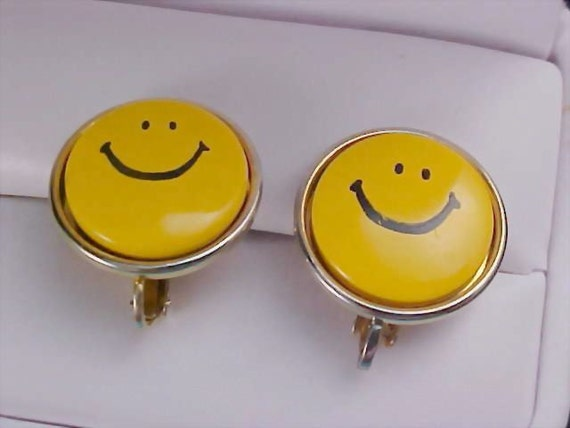 Sale***SMILEY FACE - All Yellow Metal & Black Enamel Clip Earrings