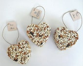 150 bird seed heart wedding favors, free personalized tags and table display sign by nature favors