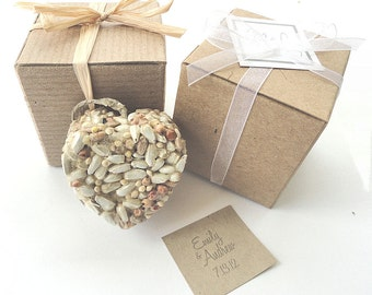 Bird Seed Heart Wedding Favors, Bridal Showers or Party Favors - Natural Kraft Brown Favor Gift Box Raffia Tie or White Ribbon DIY Options
