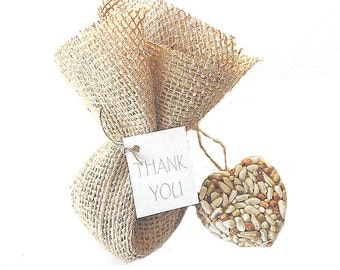 25 Bird Seed Heart Bridal Shower Favors Gift Wrapped in Burlap, Personalized Tags by Nature Favors