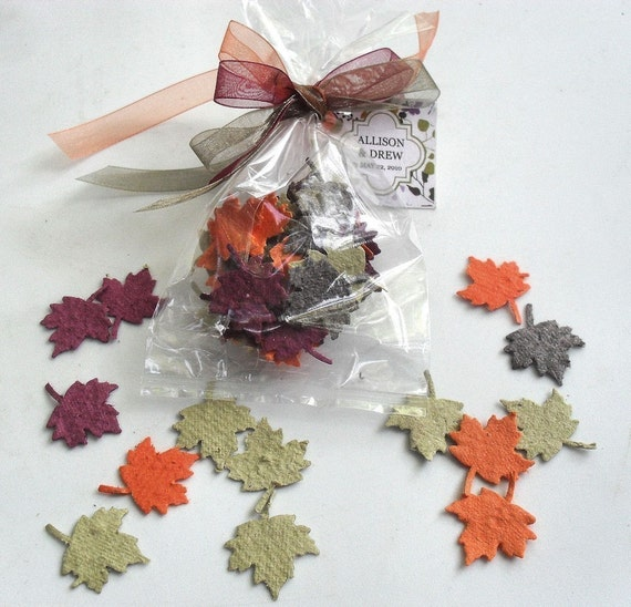 seeded paper leaves fall wedding favors bridal showers by