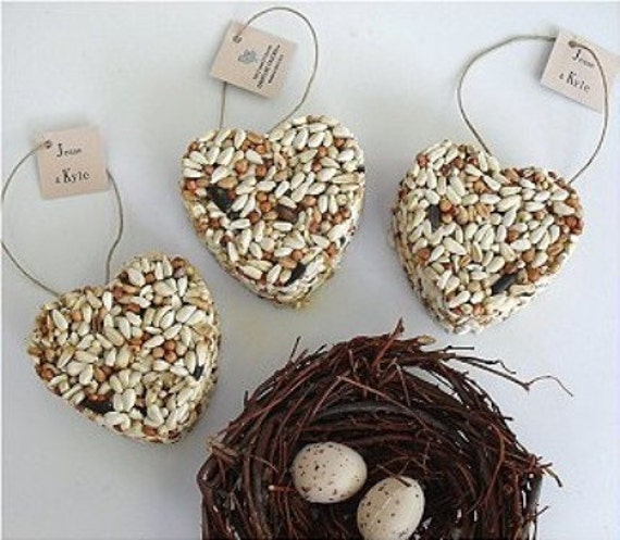 160 bird seed heart wedding favors, free personalized tags and table display sign by nature favors