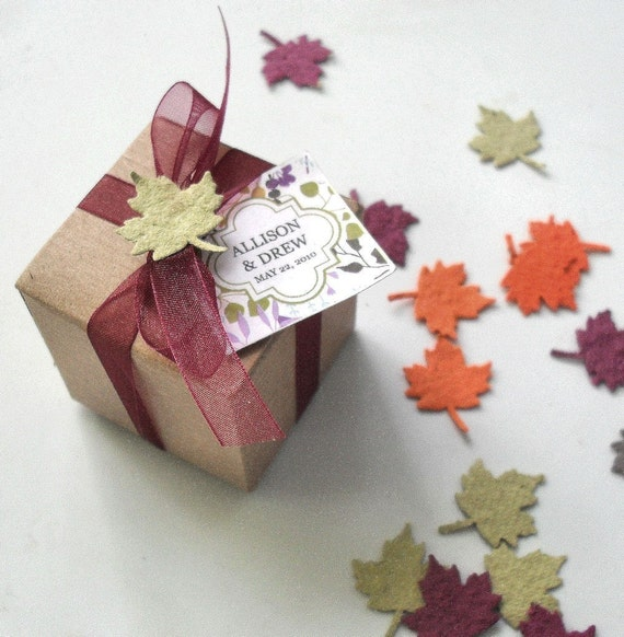 Fall Wedding Favors Seed Paper Leaf -  fall custom colors, tags by nature favors