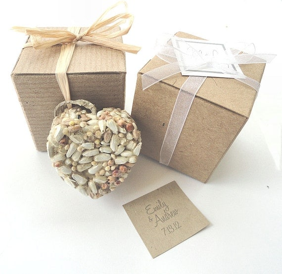 Heart Wedding Favors Bird Seed Recycled Brown Gift Boxes - Set of 100